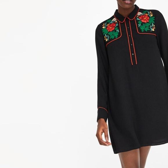 c2d7771b Zara Floral Embroidery Shirt Dress NWT